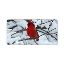 Snow Cardinal Aluminum License Plate