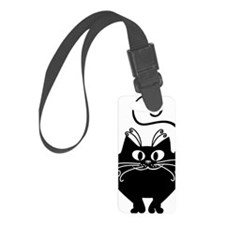 grinning fat black cat Luggage Tag