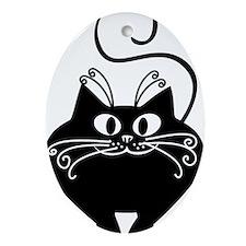 grinning fat black cat Oval Ornament