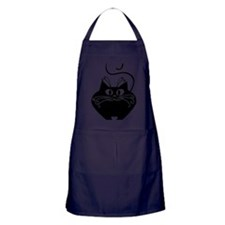 grinning fat black cat Apron (dark)