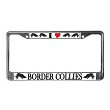 I Love My Border Collie License Plate Frame