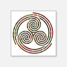 "Triple Spiral - 12 Square Sticker 3"" x 3"""