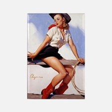 cowgirl pinup girl Rectangle Magnet