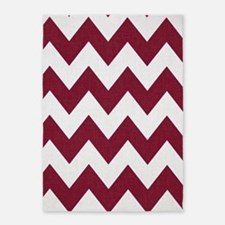 Dark Red and White Chevron 5'x7'Area Rug