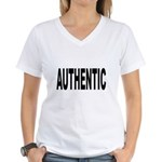 Authentic (Front) Women's V-Neck T-Shirt