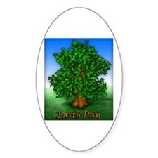 Earth Day Tree Oval Decal