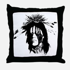 American Indian Warrior with Painted  Throw Pillow
