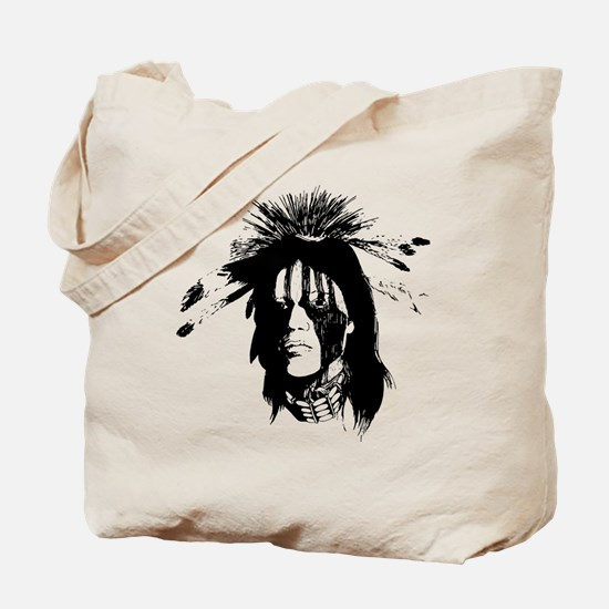American Indian Warrior with Painted Face Tote Bag