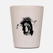 American Indian Warrior with Painted Fa Shot Glass
