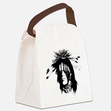 American Indian Warrior with Pain Canvas Lunch Bag