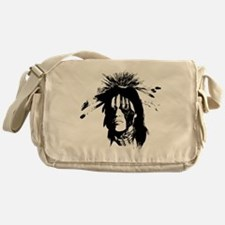 American Indian Warrior with Painted Messenger Bag