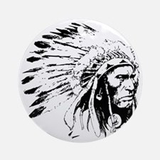 Native American Chieftain Round Ornament