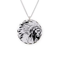 Native American Chieftain Necklace Circle Charm