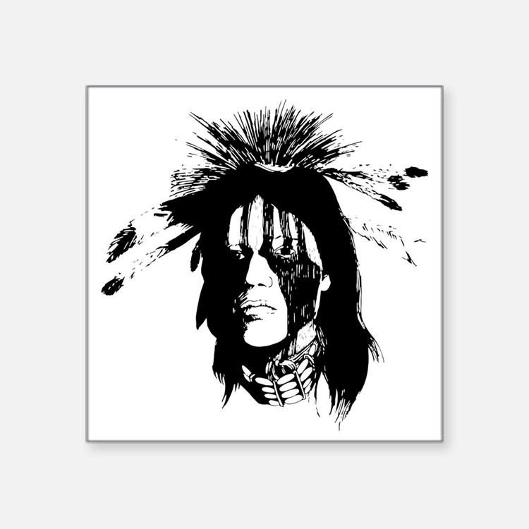 """American Indian Warrior wit Square Sticker 3"""" x 3"""""""