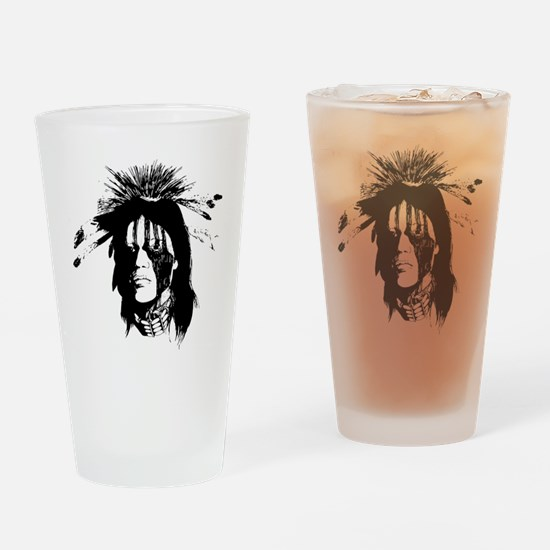 American Indian Warrior with Painte Drinking Glass