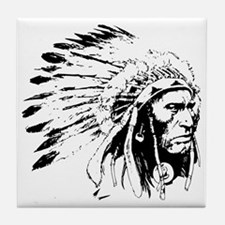 Native American Chieftain Tile Coaster