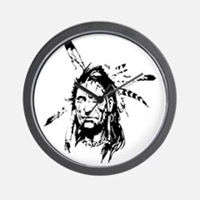 Native Warrior Four Feathers Wall Clock