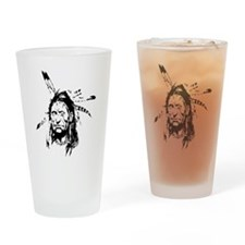 Native Warrior Four Feathers Drinking Glass