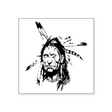 "Native Warrior Four Feather Square Sticker 3"" x 3"""