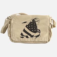 Native American with U.S. Flag Messenger Bag
