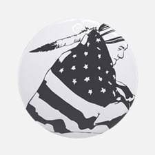 Native American with U.S. Flag Round Ornament