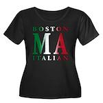 Boston Italian Women's Plus Size Scoop Neck Dark T