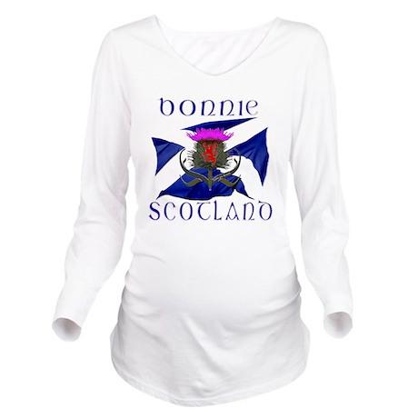 Bonnie Scotland flag Long Sleeve Maternity T-Shirt