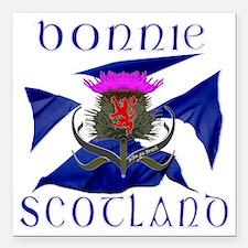 "Bonnie Scotland flag des Square Car Magnet 3"" x 3"""