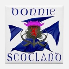 Bonnie Scotland flag design Tile Coaster