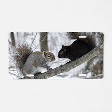 Black Squirrel Aluminum License Plate