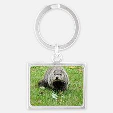 Groundhog eating Landscape Keychain