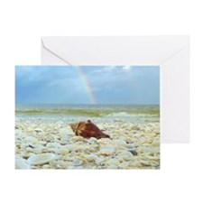 Sanibel Seashells Under The Rainbow Greeting Card