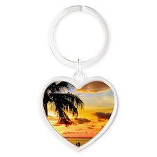 Watching Sunset Over Sanibel Island Heart Keychain