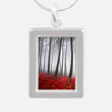 Winter Forest Silver Portrait Necklace