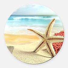 Summer Beach Round Car Magnet