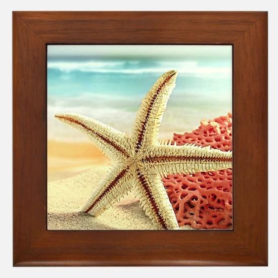 Summer Beach Framed Tile