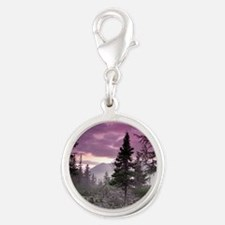 Beautiful Forest Landscape Silver Round Charm