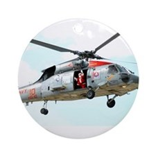 Santa Helicopter Ornament (Round)
