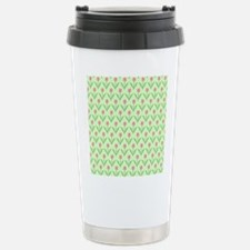 Pink and Green Floral Pattern Tulips. Travel Mug