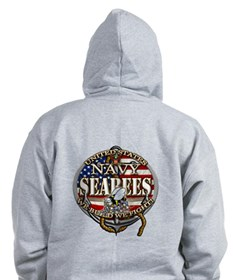 US Navy Seabees Anchor Flag S Zip Hoodie
