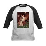 Seated Angel & Basset Kids Baseball Jersey