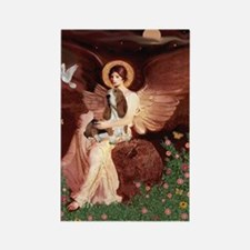 Seated Angel & Basset Rectangle Magnet