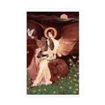 Seated Angel & Basset Sticker (Rectangle)