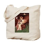 Seated Angel & Basset Tote Bag