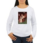 Seated Angel & Basset Women's Long Sleeve T-Shirt