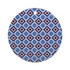 Blue and Brown Aztec Pattern Round Ornament
