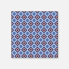 """Blue and Brown Aztec Patter Square Sticker 3"""" x 3"""""""
