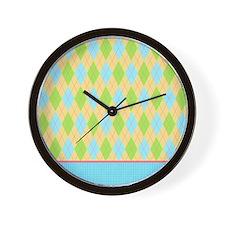 yellow blue green argyle pattern Wall Clock