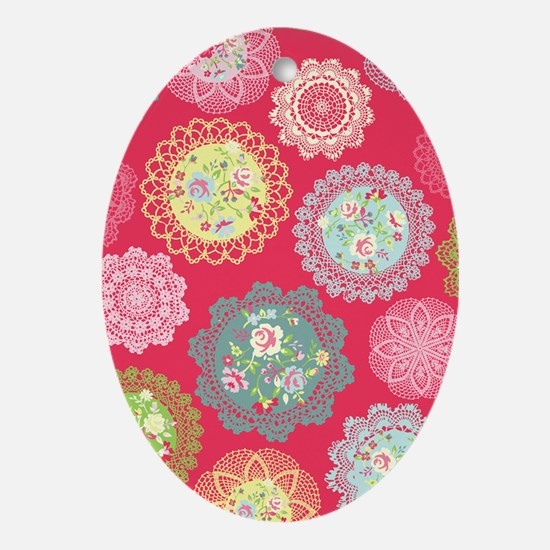 Pink floral doily Oval Ornament