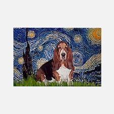 Starry / Basset Hound Rectangle Magnet